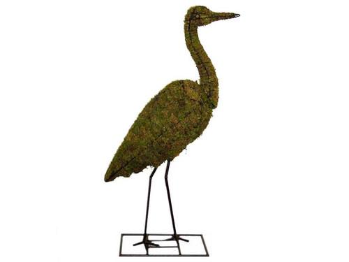 Heron Mossed Topiary Bird