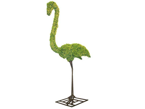 54-Inch Mossed Flamingo Topiary