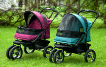 Boysenberry or Pine Green No Zip Double Pet Stroller
