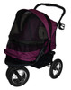 Boysenberry No Zip Double Pet Stroller with rain cover installed