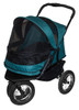 Pine Green No Zip Double Pet Stroller with rain cover installed