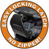 No Zip Double Pet Stroller's Locking Latch eliminates clumsy zippered access