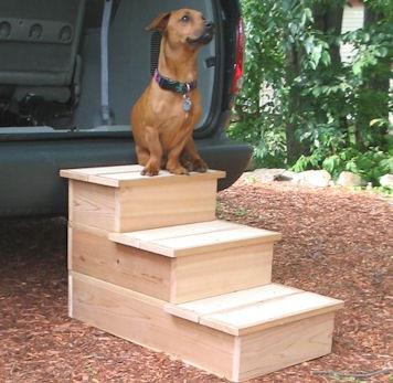 3 Step Cedar Outdoor Pet Step