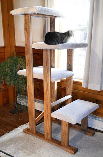 4 Tier Solid Wood Cat Tree Perch has 4 levels for climbing and napping