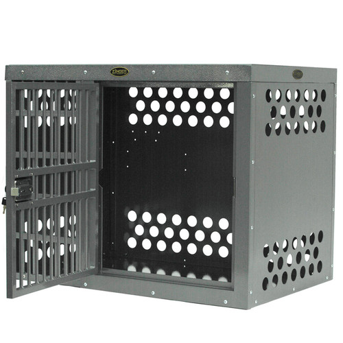 Zinger Deluxe Side Door Aluminum Dog Crate shown with door offset to the right with bars to the left