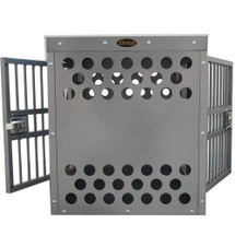 Zinger Deluxe Side/Side Door Aluminum Dog Crate Kennel.  Front and back of crate will have solid panels with laser cut air vents as shown.