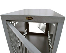 Zinger Professional Front/Back Door Aluminum Dog Crates Kennel - doors can be mounted so they open to the right or to the left