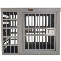 Zinger Professional Side/Side Door Aluminum Dog Crate series features  four crossbars (5 on the model 5000) on each door (this photo shows the Deluxe model).  This is how the doors will be placed, which is opposite one another, with one door offset to the right and the opposite offset to the left.
