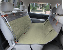 Luxury premium waterproof  non-slip green & grey hammock seat cover features leather & brass embellishments for durability