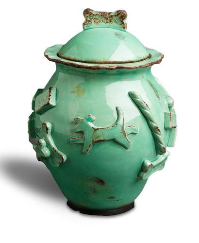 Aqua Green glazed treat jar