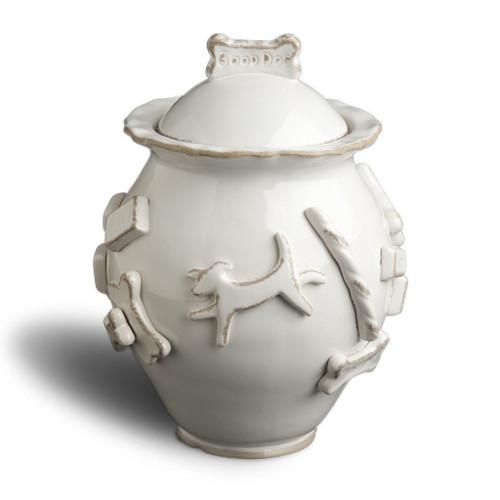 French White Ceramic Stoneware Dog Treat Jar