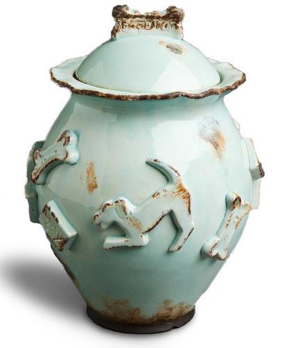 Baby Blue Ceramic Stoneware Dog Treat Jar showing down dog and treat decorations