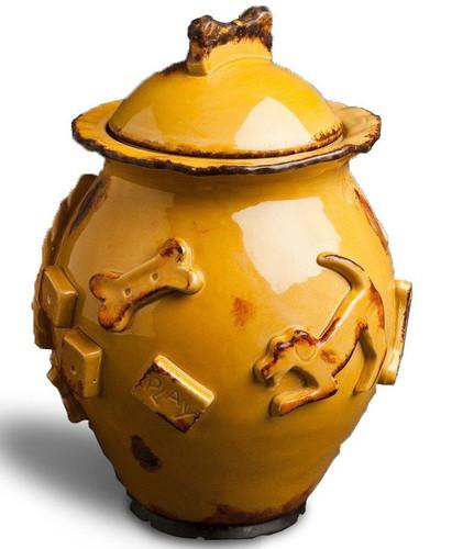 Ceramic stoneware dog treat jar in caramel glaze.