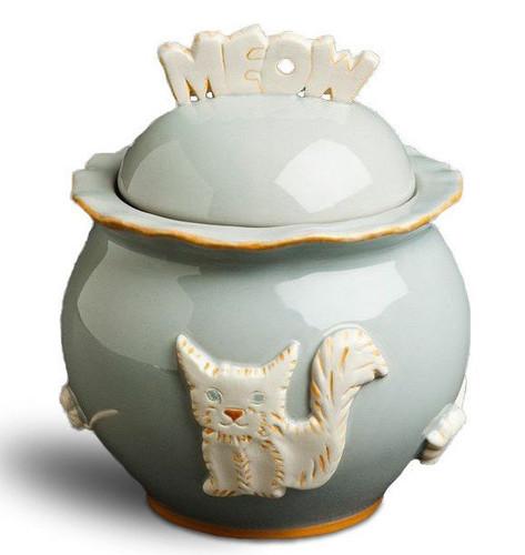 French Grey Ceramic Stoneware Cat Treat Jar