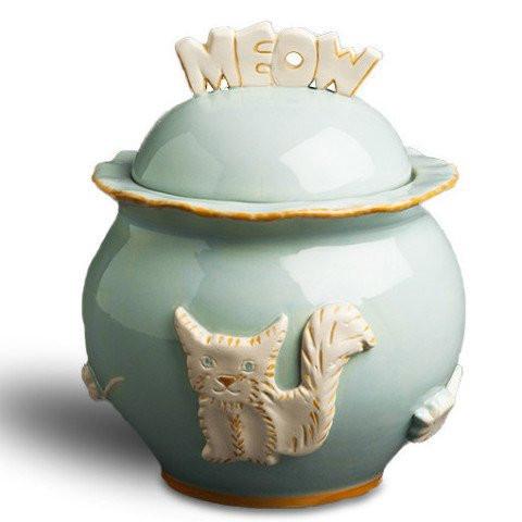 Baby Blue Ceramic Stoneware Cat Treat Jar
