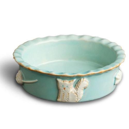 Baby Blue Ceramic Stoneware Cat Food/Water Bowl