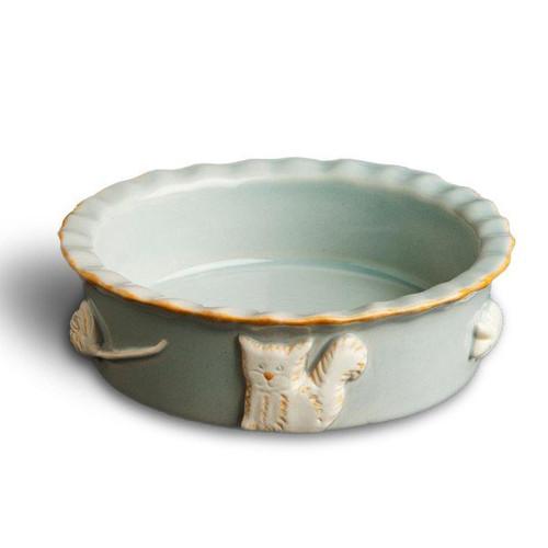 French Grey Ceramic Stoneware Cat Food/Water Bowl