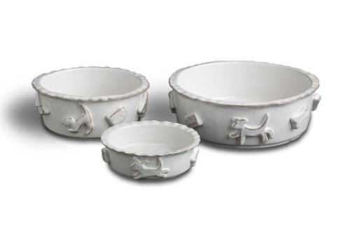 French White Ceramic Stoneware Dog Bowl