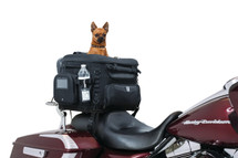 Kuryakyn Grand Pet Palace motorcycle & motor scooter pet carrier mounts to passenger seats, luggage racks or sissy bars