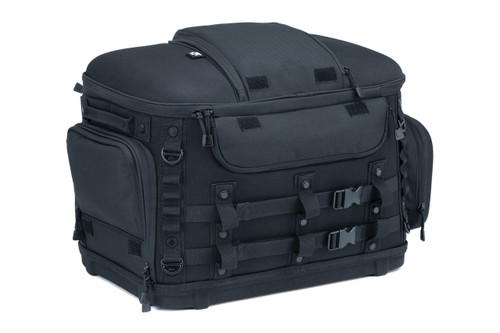 Kuryakyn Grand Pet Palace motorcycle & motor scooter pet carrier features MOLLE modular attachment points