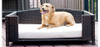 Rattan Indoor/Outdoor Rectangular Elevated Pet Sofa comes in three sizes to accommodate pets from 60 to 120 lbs.