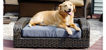 Rattan Indoor/Outdoor Rectangular Pet Sofa Bed Couch supports pets up to a maximum weight of 80 lbs.