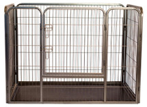 Pet playpen features heavy duty silver-tone powder coated metal tube-style construction with rounded corners ensures pet safety.