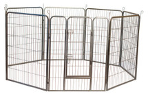 Dog exercise pen features a raised door and rounded corners, powder--coated steel frame & 8 interlocking panels that can be configured in multiple ways.