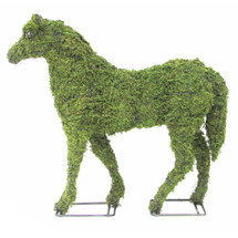 "Mossed Horse Topiary Garden Sculpture arrives pre-filled with green sphagnum moss - you can add plants or use ""as is"""