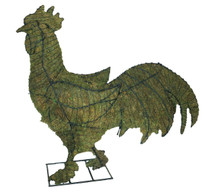 Mossed Rooster Garden Topiary Sculpture