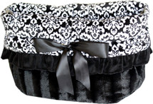 3-In-1 Reversible Black Fancy Snuggle Bug Pet Fed, Car Seat, Shoulder Tote Bag