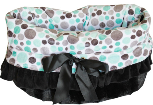 3-In-1 Reversible Aqua Dots Snuggle Bug Pet Bed also functions as a pet shoulder tote and a car safety seat.