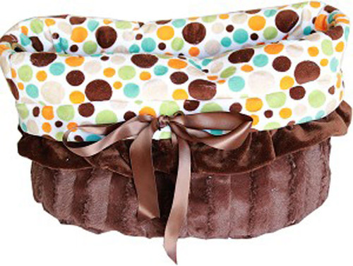 3-In-1 Reversible Fall Party Dots Snuggle Bug functions as a pet bed, a car seat or a shoulder tote