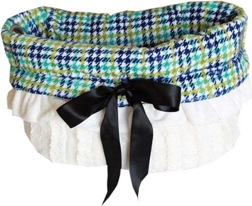 3-In-1 Reversible Aqua Plaid Snuggle Bug functions as a pet bed, a car seat or a shoulder tote.