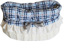 3-in-1 Reversible Blue Plaid Snuggle Bug Pet Bed, Car Seat, Shoulder Tote Bag