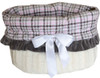 3-In-1 Reversible Pink Plaid Snuggle Bug functions as a pet bed, a car seat or a shoulder tote.