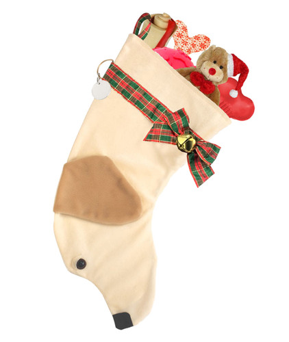 """Yellow Labrador Retriever Christmas Holiday dog stocking features two tone faux fur fabric, black eye & nose accents, plaid ribbon """"collar"""", bow & hanger, gold bell,  and a paper ID tag hangs from the d-ring.  Sorry, but the toys are NOT included."""