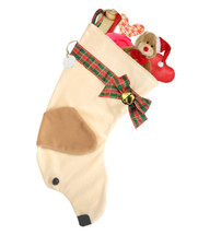 "Yellow Labrador Retriever Christmas Holiday dog stocking features two tone faux fur fabric, black eye & nose accents, plaid ribbon ""collar"", bow & hanger, gold bell,  and a paper ID tag hangs from the d-ring.  Sorry, but the toys are NOT included."