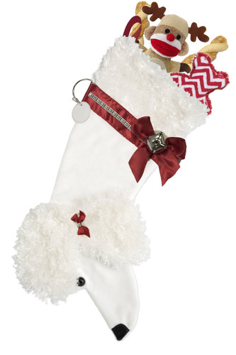 White Poodle Christmas Holiday Dog Stocking measures 22 inches long to hold LOTS of toys/treats and features faux fur fabric with black eye & nose accents.  Sorry, but the toys are NOT included.