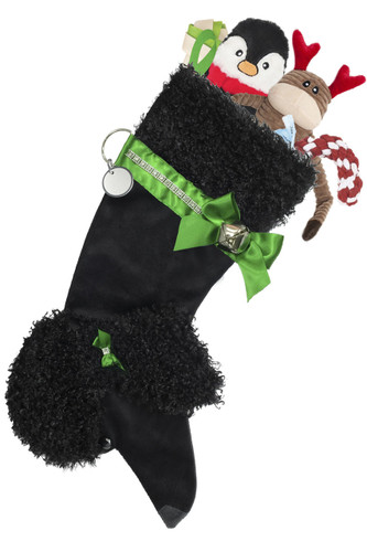"""Black Poodle Christmas Holiday Dog stocking features faux fur fabric, black eye & nose accents, green satin ribbon """"collar"""" & hair bow with rhinestone embellishments, satin bow & hanger, silver-tone bell & a paper ID tag hangs from the silver d-ring.  Sorry, but the toys are NOT included."""