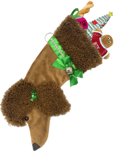 """Brown Poodle Christmas Holiday Dog stocking features faux fur fabric, black eye & nose accents, green satin ribbon """"collar"""" & hair bow with rhinestone embellishments, satin bow & hanger, silver-tone bell & a paper ID tag hangs from the silver d-ring.  Sorry, but the toys are NOT included."""