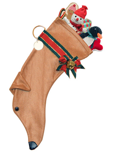 "Tan Greyhound Christmas Holiday Dog Stocking features a red & green metallic edged ribbon ""collar,"" bow and hanger with a gold-tone bell & d-ring from which hangs a paper ID tag hangs for personalization.  Toys NOT included."