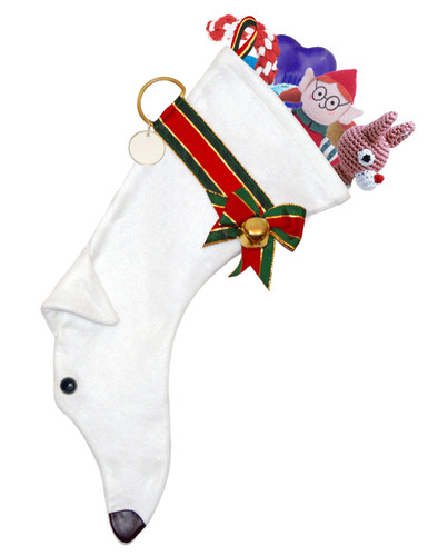 White Greyhound Christmas Holiday features white faux fur fabric, black eye & nose accents with a decorative collar.  Sorry, but the toys are NOT included.