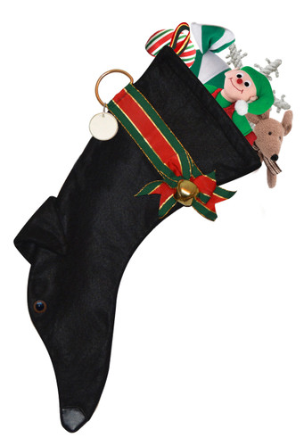 Black  Greyhound Christmas Holiday Stocking features black faux fur fabric, black eye & nose accents with a decorative collar.  Sorry, but the toys are NOT included.