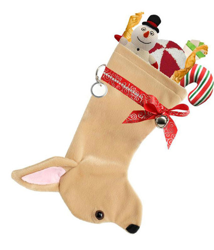 Chihuahua Christmas Holiday Stocking features tan faux fur fabric, black/brown eye & black nose accents with a decorative ribbon collar.  Its a full 14.5 inches long for lots of small toys, treats & goodies.  Sorry, but the toys are NOT included.