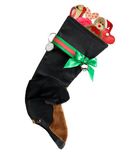 Black & Tan Dachshund Christmas Holiday Stocking features tan faux fur fabric, black/brown eye & black nose accents with a decorative ribbon collar.  Sorry, but the toys are NOT included.