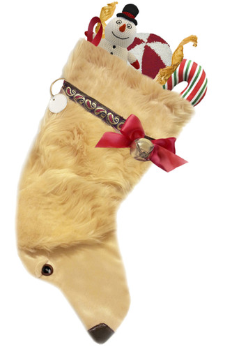 """Golden Retriever dog stocking features realistic faux fur fabric, black eye & nose accents, red & gold metallic jacquard ribbon """"collar,"""" red satin bow & hanging loop, gold-tone jingle bell & a paper ID for personalization.  Sorry, but the toys are NOT included."""