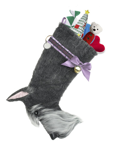 """Schnauzer dog stocking features faux fur fabric, black eye & nose accents, lilac satin/jacquard ribbon """"collar,"""" lilac satin bow & hanging loop, gold-tone jingle bell & a paper ID for personalization.  Sorry, but the toys are NOT included."""