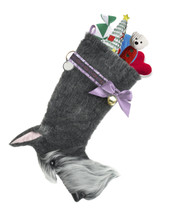 "Schnauzer dog stocking features faux fur fabric, black eye & nose accents, lilac satin/jacquard ribbon ""collar,"" lilac satin bow & hanging loop, gold-tone jingle bell & a paper ID for personalization.  Sorry, but the toys are NOT included."