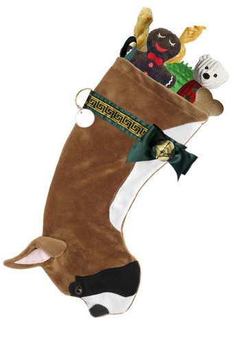 """Boxer Christmas Holiday Dog Stocking features faux fur fabric, black eye & nose accents, satin/jacquard ribbon Greek Key design """"collar,"""" green satin bow & hanging loop, gold-tone jingle bell & a paper ID for personalization.  Sorry, but the toys are NOT included."""
